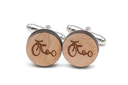 Wooden Accessories Company Tricycle Cufflinks, Wood Cufflinks Hand Made in The USA