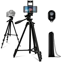 Number-one 53 Inches Camera Tripod, Lightweight Aluminum Phone Tripod with Stand/Carry Bag/Bluetooth Remote for iPhone…