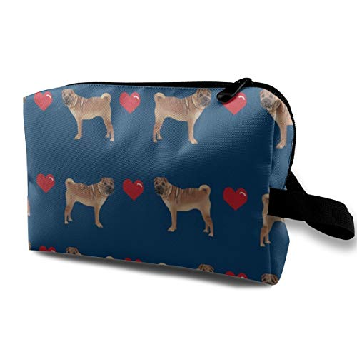 Sharpei Love Hearts Dog Breed Pure Breed Fabric Navy_243 Toiletry Bag Cosmetic Bag Portable Makeup Pouch Travel Hanging Organizer Bag For Women girl 10x5x6.2 inch