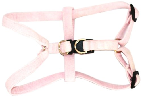 The Dog Squad 14-16-Inch Ultra Suede Skinny Mini Step-In Pet Harness, Medium, Light Pink