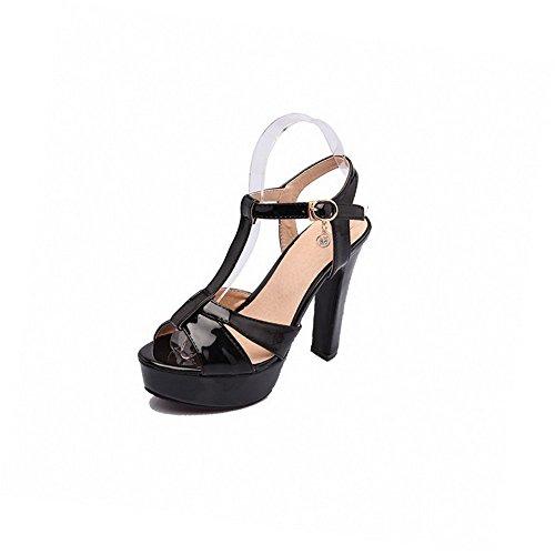 AgooLar Women's Soft Material Open-Toe High Heels Buckle Solid Sandals Black MPv8jJq