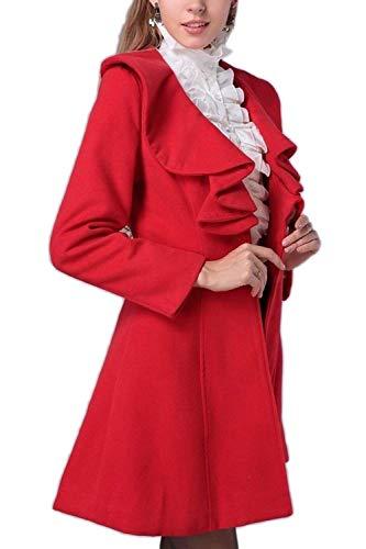 Vintage Trench Eleganti Lunga Manica Donna neck Fit Moda Rosso V Autunno Slim Invernali Coat Cappotto Outerwear Giaccone Monocromo nqvPqwp0f