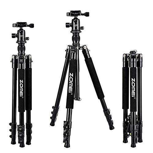 Price comparison product image Zomei Q555 62.5'' Camera Tripod, Lightweight and Compact Aluminum Portable Travel Tripod with 360 Degree Ball Head for Vlog Nikon Canon Sony All DSLR and Digital Camera