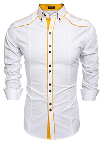 COOFANDY Men's Button Down Dress Shirts Casual Slim Fit Shirts(White,XL)