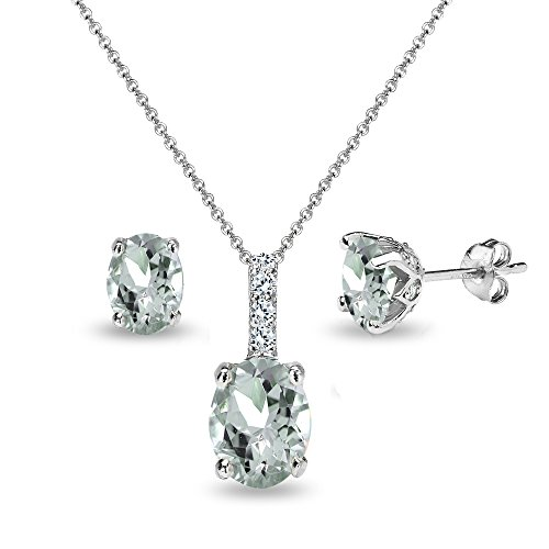 Sterling Silver Light Aquamarine and White Topaz Oval Crown Necklace & Stud Earrings Set