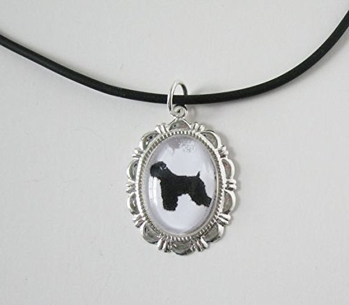 Wheaten Terrier Cameo Cabochon Silver Dog Necklace Pendant Silhouette - Wheaten Coated Jewelry Soft