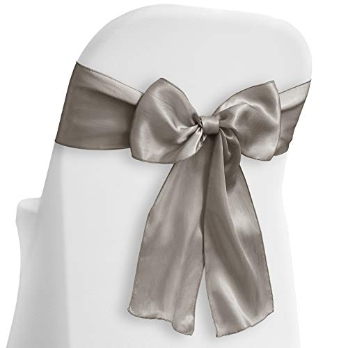 Lann's Linens - 50 Elegant Satin Wedding/Party Chair Cover Sashes/Bows - Ribbon Tie Back Sash - Silver (Elegant Silver Satin)