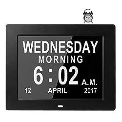 Véfaîî 2 UI- Large Day Clock Digital Calendar for Memory Loss Elderly Seniors Dementia Alzheimers Vision Impaired Patients 6 Ft Power Cord+5 Alarms+3 Medicine Reminders+Digital Picture Frame (Black)