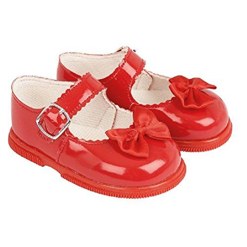 Baypods primer Walking zapatos. hardsole patente bebé niña zapatos en marfil, blanco, rojo o rosa en tamaños 2–
