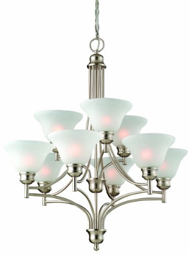 Design House 517136 Bristol 9 Light Chandelier, Satin Nickel