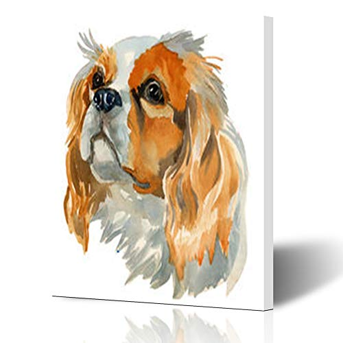 Homeyard Canvas Prints Wall Art Watercolor Cavalier King Charles Color Spaniel Hand Wildlife Nature 16 x 16 Inches Wooden Framed Artwork Painting Home Decor Bedroom Office - Cavalier King Charles Spaniels Framed