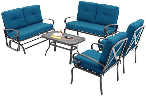 Oakmont 6Pcs Outdoor Metal Furniture Sets Patio Conversation Set Glider, 2 Single Chairs, Loveseat and Coffee Table, Wrought Iron Look (Peacock Blue)