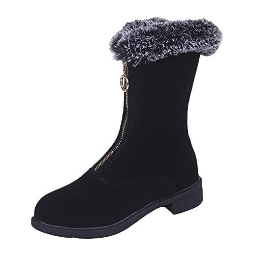 Women Zipper Boots,Mosunx Lady Fashional Flock Platform Keep Warm Snow Boots (7.5B(M) US, Black) by Mosunx Women Shoes