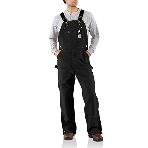 - Carhartt Men's R37 Duck Zip-to-Thigh Bib Overall - Unlined - 34W x 36L - Black
