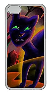 iPhone 5c Case - Unique Cool And Pumpkin Halloween Black Cat Hard Clear Mobile Phone Protecting Shell