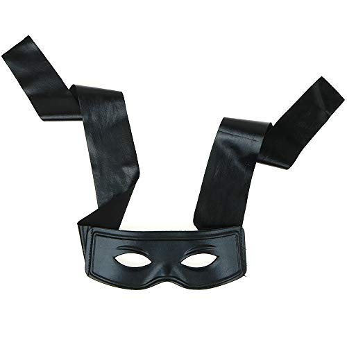 Easy Female Villain Costumes (Skeleteen Black Burglar Masquerade Mask - Faux Leather Costume Bank Robber Thief Mask with Tie)
