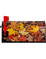 COSNUG Dry Autumn Leaves Pattern Mailbox Covers Magnetic Personlized Farmhouse Garden Decor Mailwraps Post Letter Box Cover
