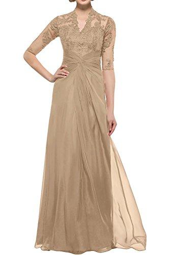 Brautmutterkleider Festlichkleider Abendkleider Spitze Braut Champagner Lang Langarm Promkleider La Damen mia Partykleider Gruen UW40xzaAnz