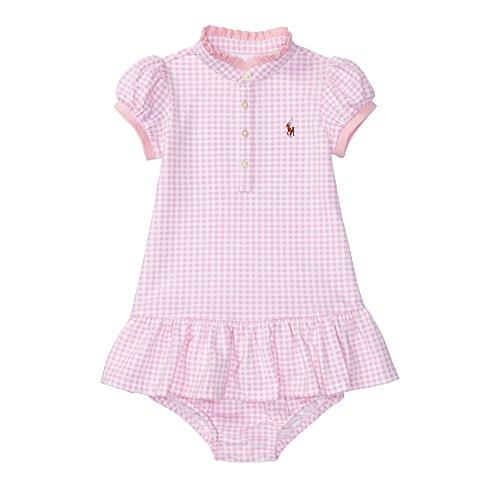 Ralph Lauren Infant Dresses (Ralph Lauren Baby Girls Stretch Mesh Gingham Dress Set (3 Months, Pink/White))
