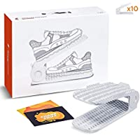 Rocket Elephant Adjustable Shoe Slots Organizer - Upgraded Shoe Stacker and Shoe Holder/Shoe Storage Space Saver/for High,Low Heels and Sneakers/Premium 4-Levels Adjustable (10-Piece Handy Pack)