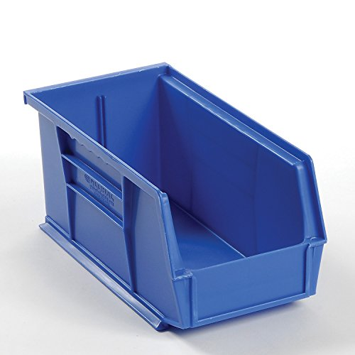 Plastic Stacking And Hanging Parts Bin 5-1/2 x 10-7/8 x 5, Blue - Lot of 12 by Global Iundustrial