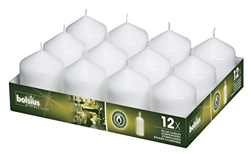 BOLSIUS Tray of 12 White Wedding Party Pillar Candles 78 x 58 mm (aprox 3 x 2.3 inch)