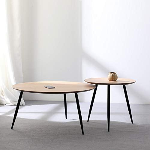 Uitverkoop WuJiPeng Moderne massief houten salontafels uit het midden van de eeuw, met zwart metalen frame, eenvoudige montage  CE7GxZl