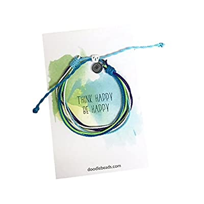 Think Happy, Be Happy Friendship Threaded Bracelet Wax Coated and Waterproof free shipping