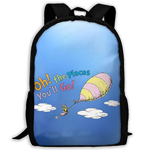 Oh!the Places You'll Go! Hot Air Balloon Backpack Women 3D Print Daypacks For Men ()