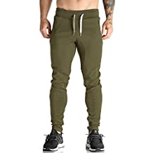 EU Men's Joggers Pants Gym Workout Pant Fitness Running Trousers Zipper Pockets