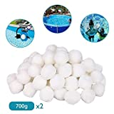 2Pack 700g Pool Filter Balls, Swimming Pool Cleaning Equipment Special Fine Filter Fiber Ball, Eco-Friendly High Strength Durable Swimming Pool Cleaning Balls