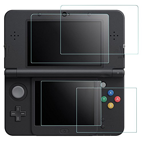 Screen Protector Compatible Nintendo New 3DS, AFUNTA 2 Pack (4 Pcs) Tempered Glass for Top Screen and HD Clear PET Film for Bottom Screen Accessory
