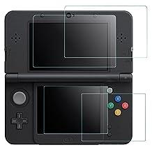 Protectores de Pantalla para New Nintendo 3DS, AFUNTA 2 Pack Vidrios Templado para la Pantalla Superior y Protectores en PET HD para la Pantalla Inferior para 3DS (No para 3DSXL 3DSLL)