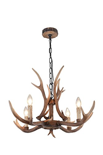 Country Chandelier Style (EFFORTINC Antlers vintage Style resin 4 light chandeliers, American rural countryside antler chandeliers,Living room,Bar,Cafe, Dining room deer horn chandeliers)