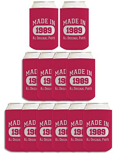 30th Birthday Gift Coolie Made 1989 Can Coolers Coolies 12 Pack Magenta ()