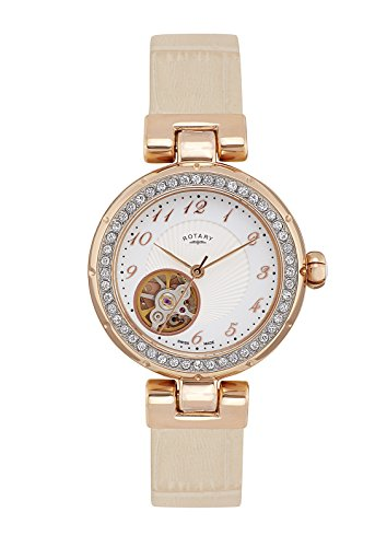 Rotary Ls004-A-18 Women's Project/D London Auto Beige Leather Rose-Tone Ss Watch