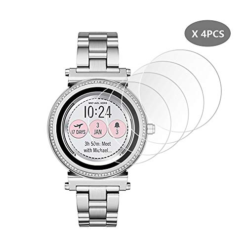 (4-PCS) Frgnie Compatible MICHKAEL Kors Access Sofie Screen Protector, 9H Hardness Full coverage Anti-Scratch Tempered Glass Screen Protector for Access Sofie (Gen 2) MKT5040 Smartwatch
