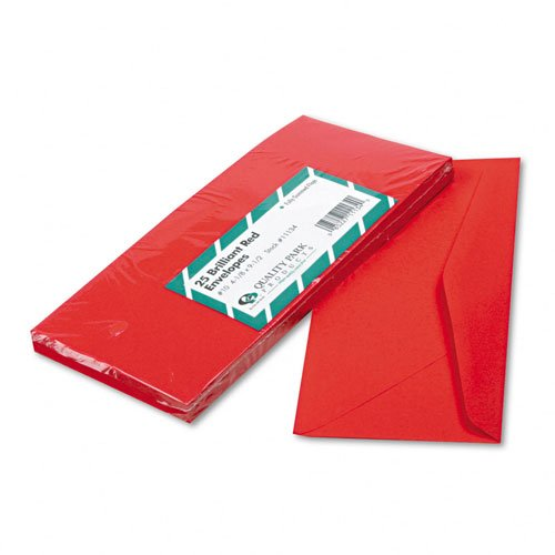 Quality Park Colored Envelope, Traditional, #10, Red, 25 per Pack (11134) (Business Red Envelopes)