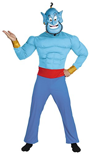 Disguise Mens Disney Genie Muscle Chest Theme Party Fancy Dress Costume, Standard (42-46)