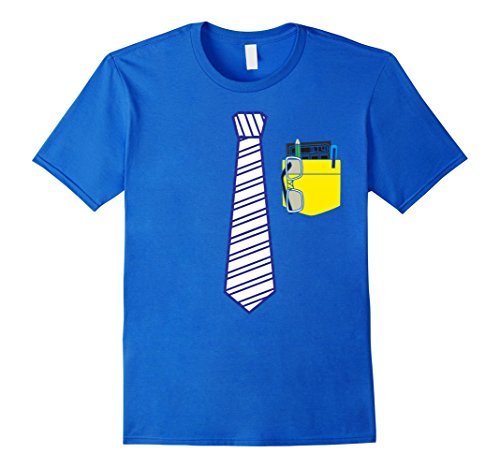 Mens Nerdy Teacher Costume Back to School T-Shirt | Blue Tie Large Royal Blue