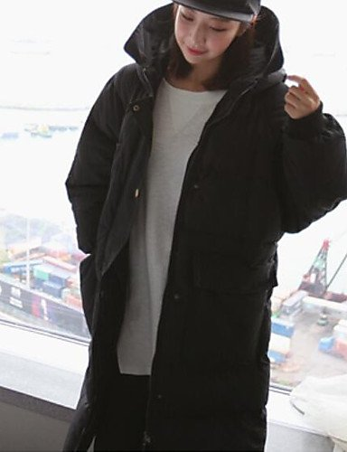 manga relleno algodón algodón XL Abrigo ShangYi mujer de Casual Simple larga Activo liso Periódico amp; TT poliéster qwC6BB