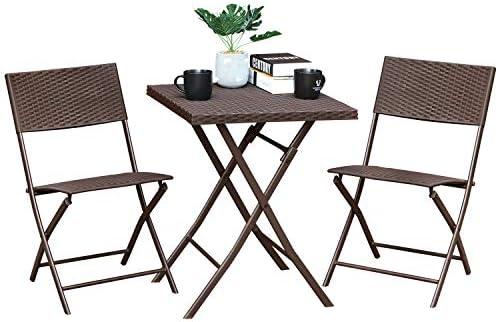 Aoodor 3 Piece Patio Set Foldable Wicker Furniture Bistro Table Set Conversation Set