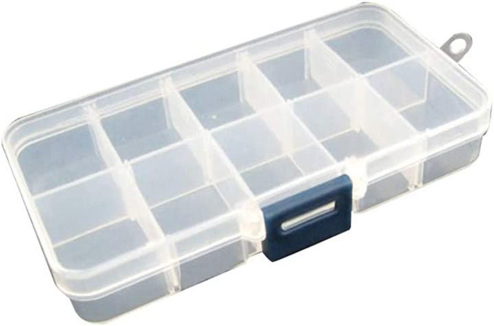 ISuper Recipientes de plástico Transparente, Recipiente extraíble Ajustable para Pendientes Donde Existe Un Sistema de los Anillos de Perlas Joyas (10Rejillas)