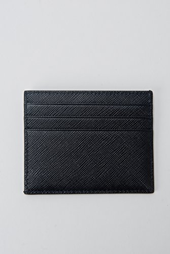 With Prada Box Wallet Credit Holder Saffiano Black Leather Card Baltic qrBrwfX