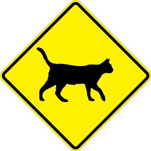 aqf527907 Cartel de cruce de símbolo de gato al aire libre ...