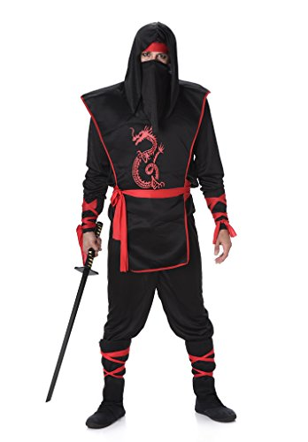 Black Red Ninja Costume Set - Halloween Mens Dragon Assassin Warrior, X-Large -