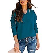 Cisisily Womens V Neck Long Sleeve Sweaters Casual Loose Fitted Solid Color Pullover Knitted Tops