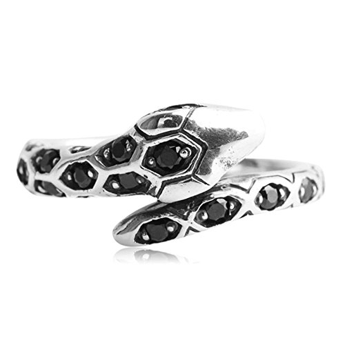 Beydodo Womens Silver Ring, Tail Ring Black Cubic Zirconia Snake Ring Size 4.5 Men Rings Hip Hop by Beydodo