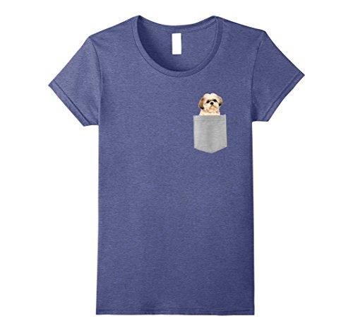 Womens Dog in Your Pocket Shih Tzu t shirt tee shirt XL Heather Blue (Shih Blue Tzu)