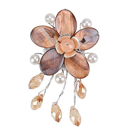 Acrylic Pearl Flower Brooch (Exquisite Flower Charm Tassels Brooch Pin Pearl Banquet Brooch for Women Girls Handmade Jewelry)
